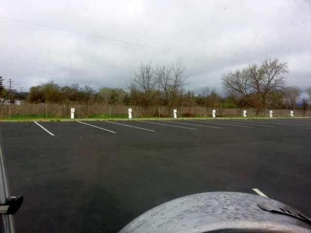 My parking spot in the rain at Konocti Vista Casino, first night in Lake County