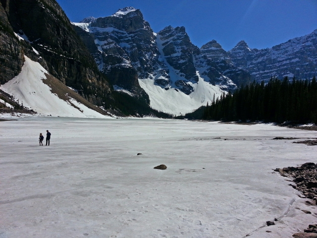 Lake Moraine in May, sill frozen.